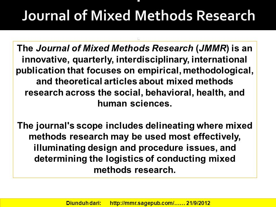 . Journal of Mixed Methods Research .
