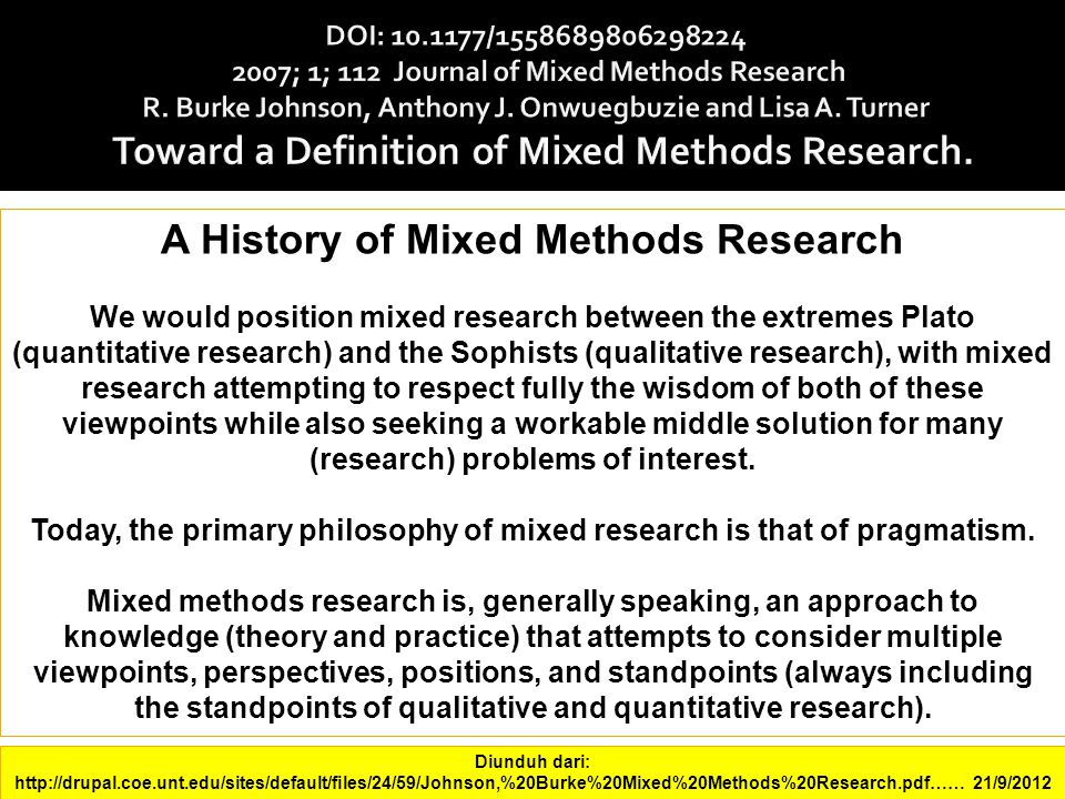 A History of Mixed Methods Research