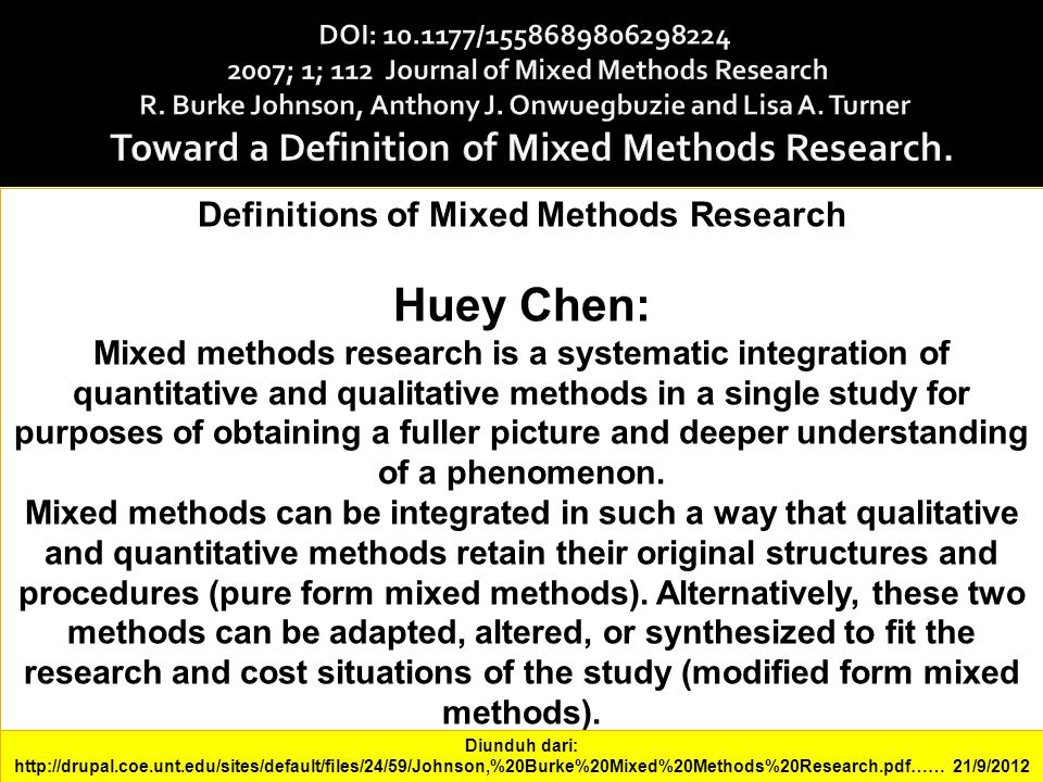 Definitions of Mixed Methods Research