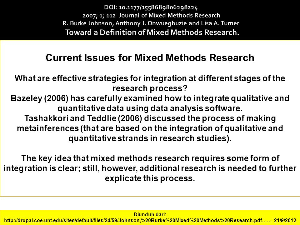 Current Issues for Mixed Methods Research