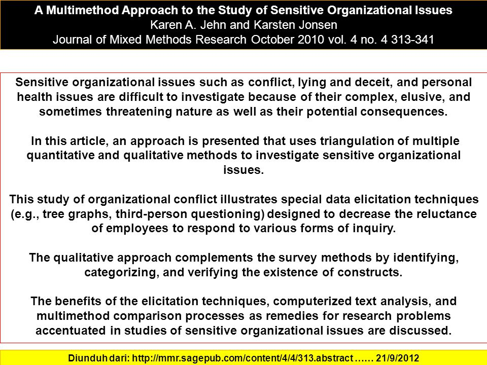 A Multimethod Approach to the Study of Sensitive Organizational Issues