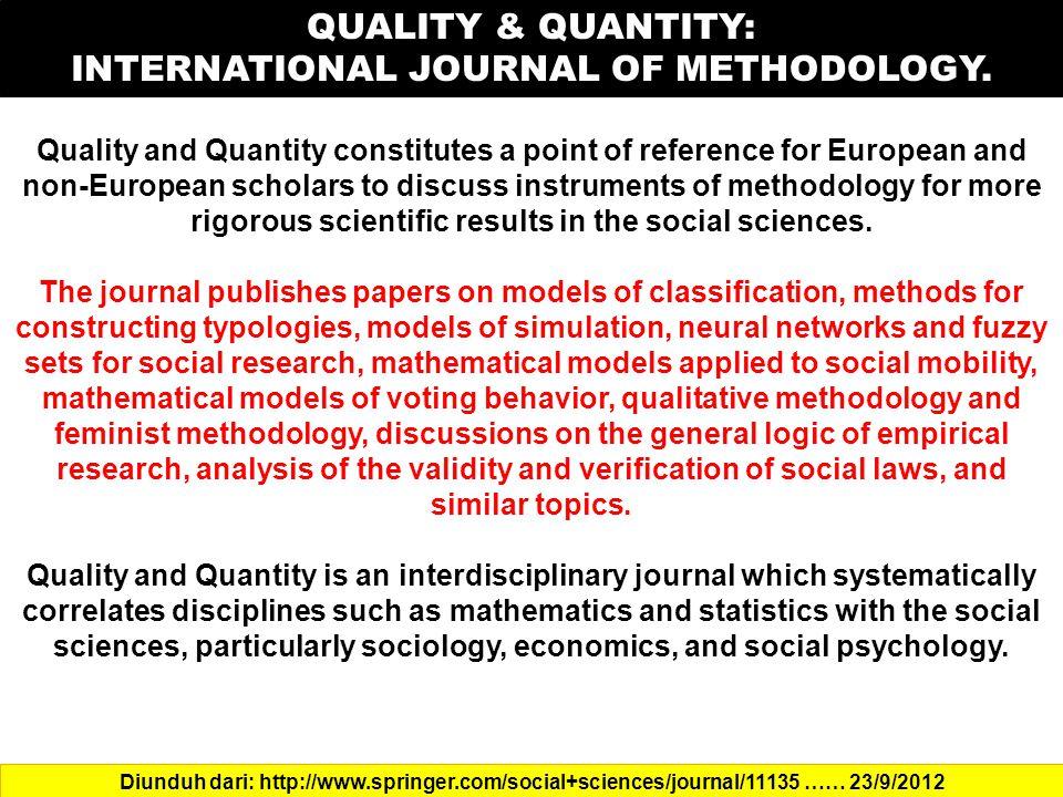 INTERNATIONAL JOURNAL OF METHODOLOGY.