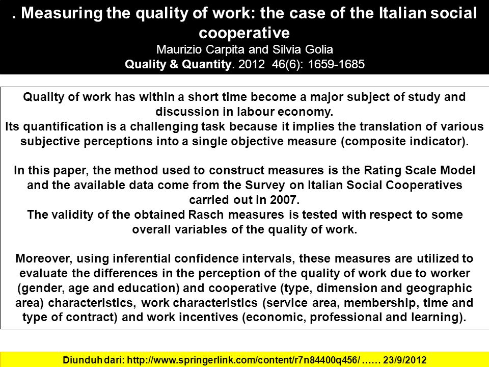 . Measuring the quality of work: the case of the Italian social cooperative