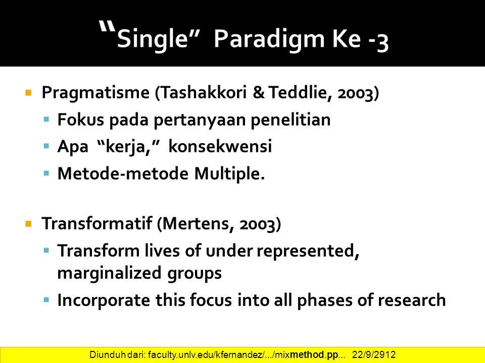 Single Paradigm Ke -3 Pragmatisme (Tashakkori & Teddlie, 2003)