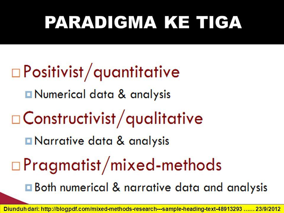 PARADIGMA KE TIGA Diunduh dari: http://blogpdf.com/mixed-methods-research---sample-heading-text-48913293 …… 23/9/2012.
