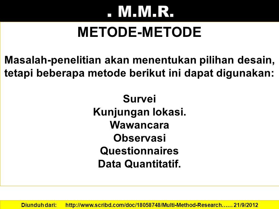 . M.M.R. METODE-METODE. Masalah-penelitian akan menentukan pilihan desain, tetapi beberapa metode berikut ini dapat digunakan: