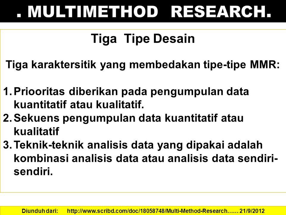 Tiga karaktersitik yang membedakan tipe-tipe MMR: