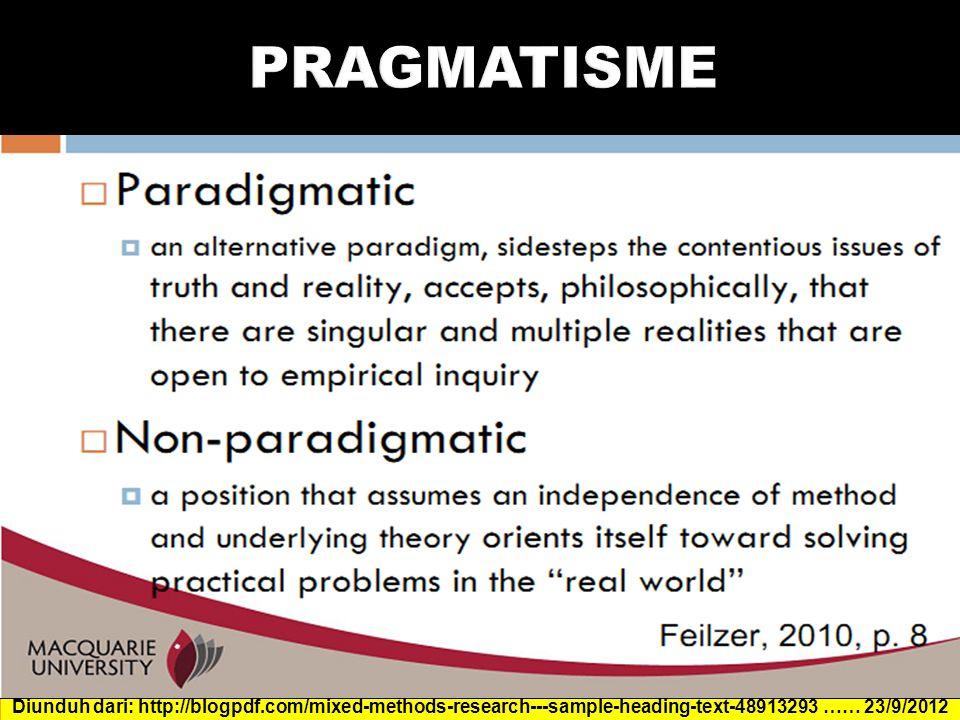 PRAGMATISME Diunduh dari: http://blogpdf.com/mixed-methods-research---sample-heading-text-48913293 …… 23/9/2012.
