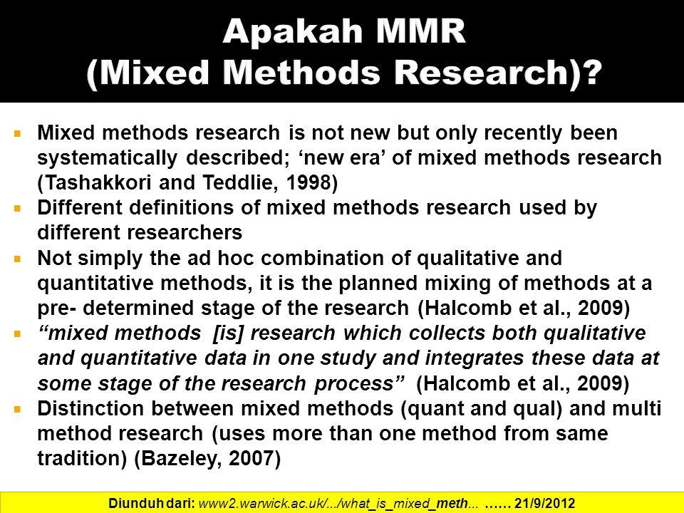Apakah MMR (Mixed Methods Research)