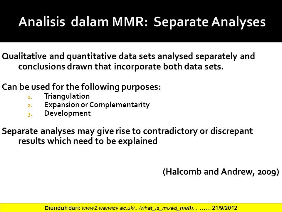 Analisis dalam MMR: Separate Analyses