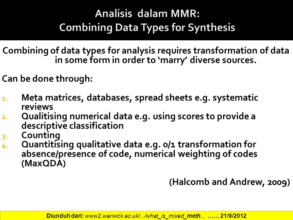 Analisis dalam MMR: Combining Data Types for Synthesis