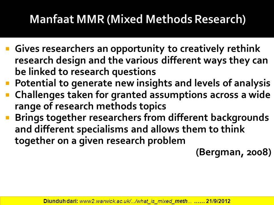 Manfaat MMR (Mixed Methods Research)