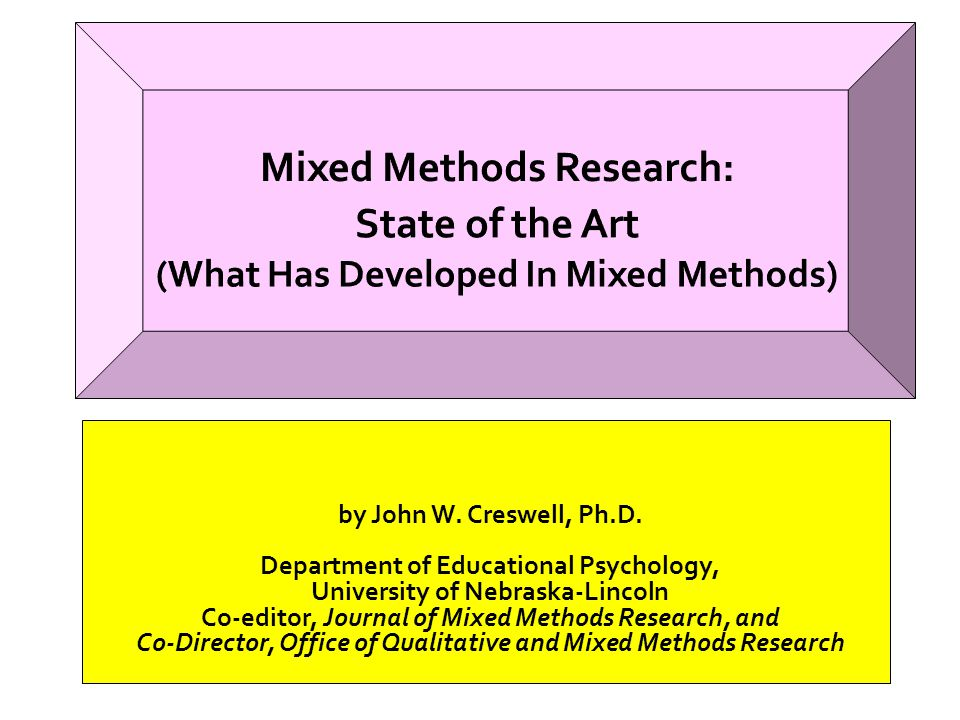Mixed Methods Research: State of the Art (What Has Developed In Mixed Methods)