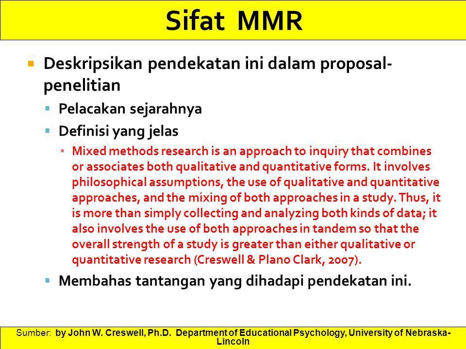 Sifat MMR Deskripsikan pendekatan ini dalam proposal-penelitian