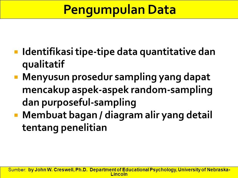 Pengumpulan Data Identifikasi tipe-tipe data quantitative dan qualitatif.