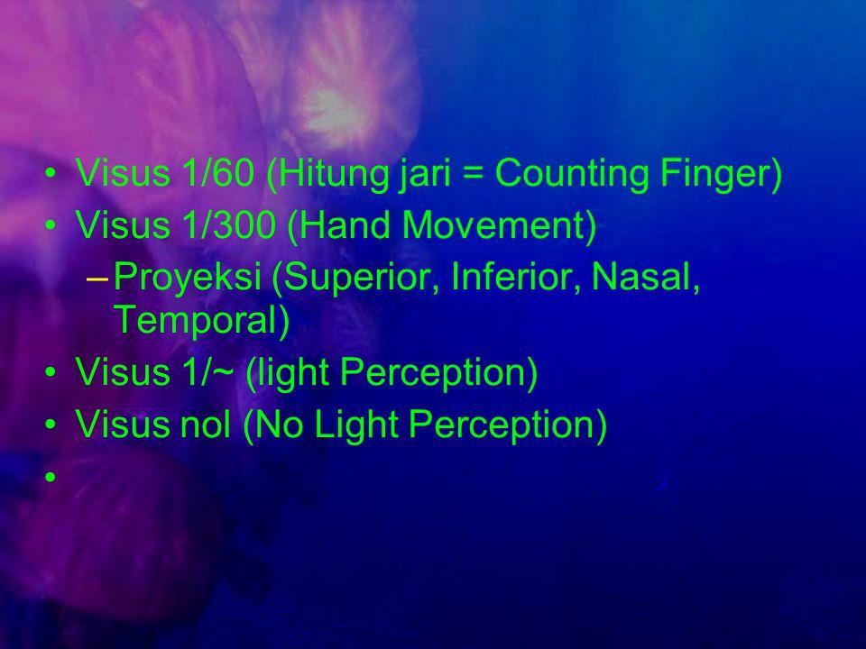Visus 1/60 (Hitung jari = Counting Finger)