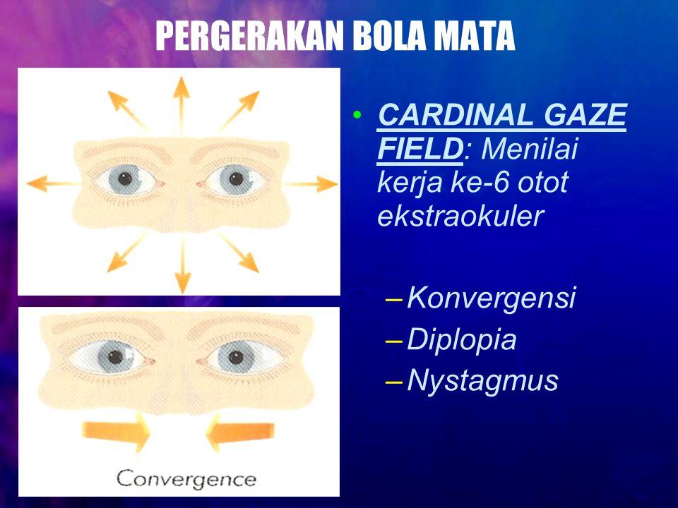 PERGERAKAN BOLA MATA CARDINAL GAZE FIELD: Menilai kerja ke-6 otot ekstraokuler. Konvergensi. Diplopia.