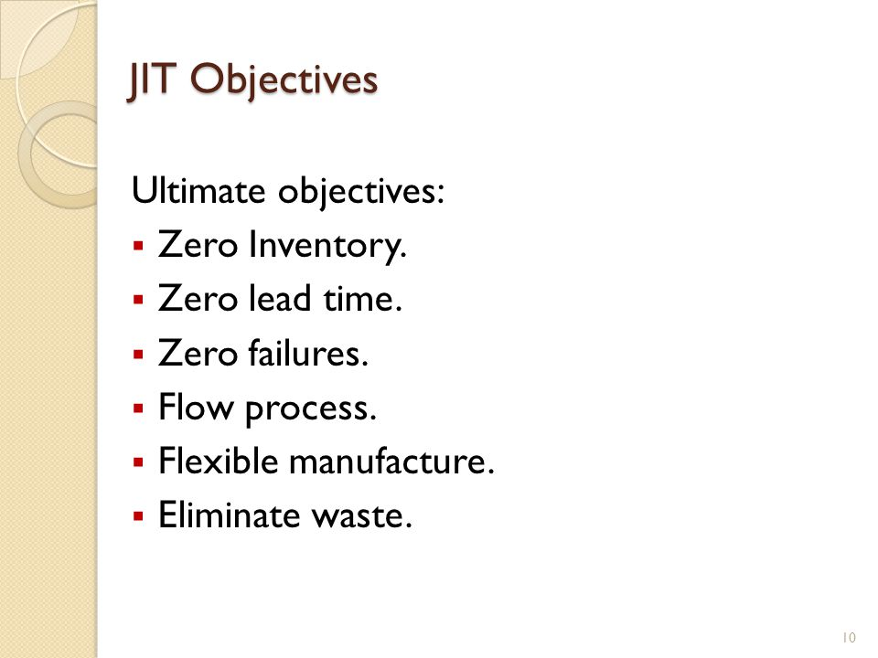 JIT Objectives Ultimate objectives: Zero Inventory. Zero lead time.