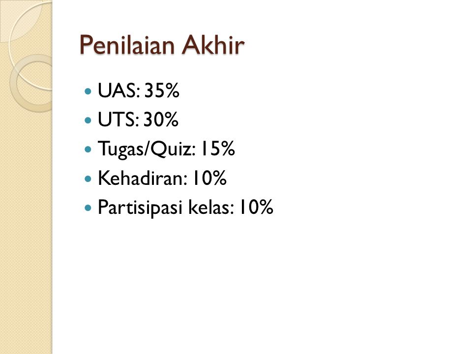 Penilaian Akhir UAS: 35% UTS: 30% Tugas/Quiz: 15% Kehadiran: 10%