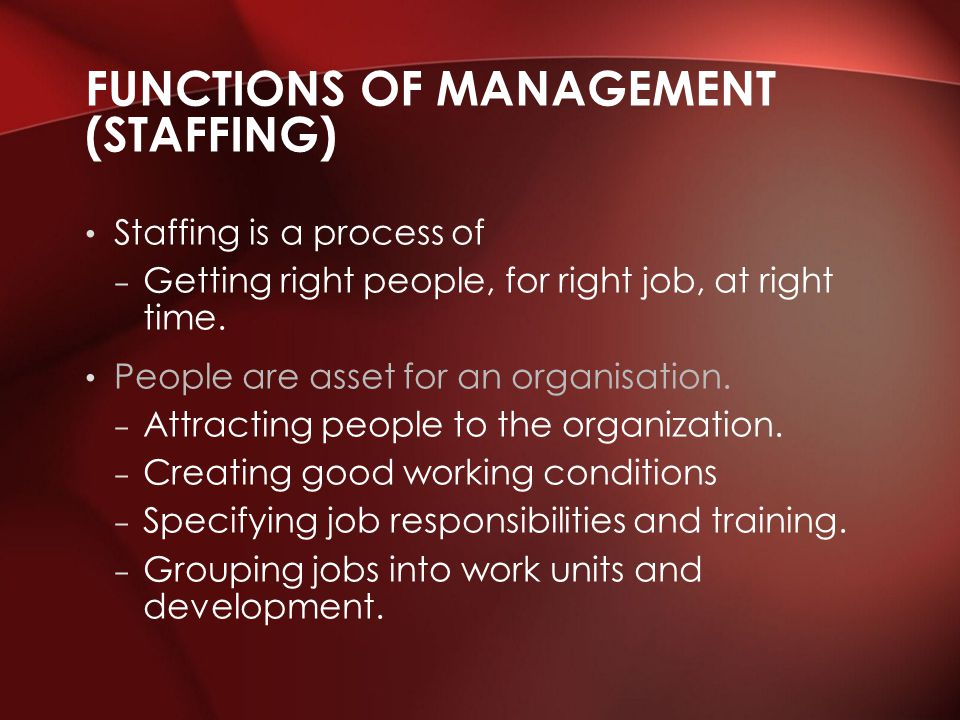 Functions of Management (Staffing)