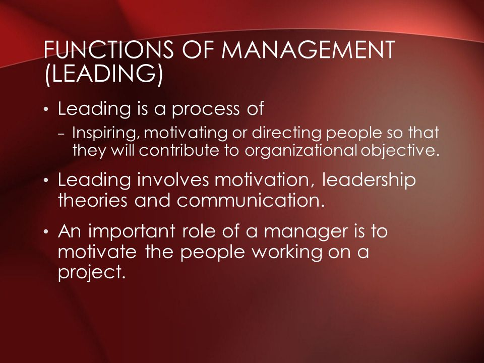 Functions of Management (Leading)