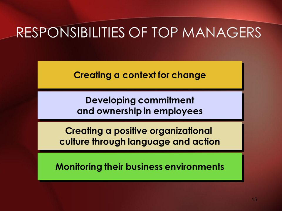 Responsibilities of Top Managers