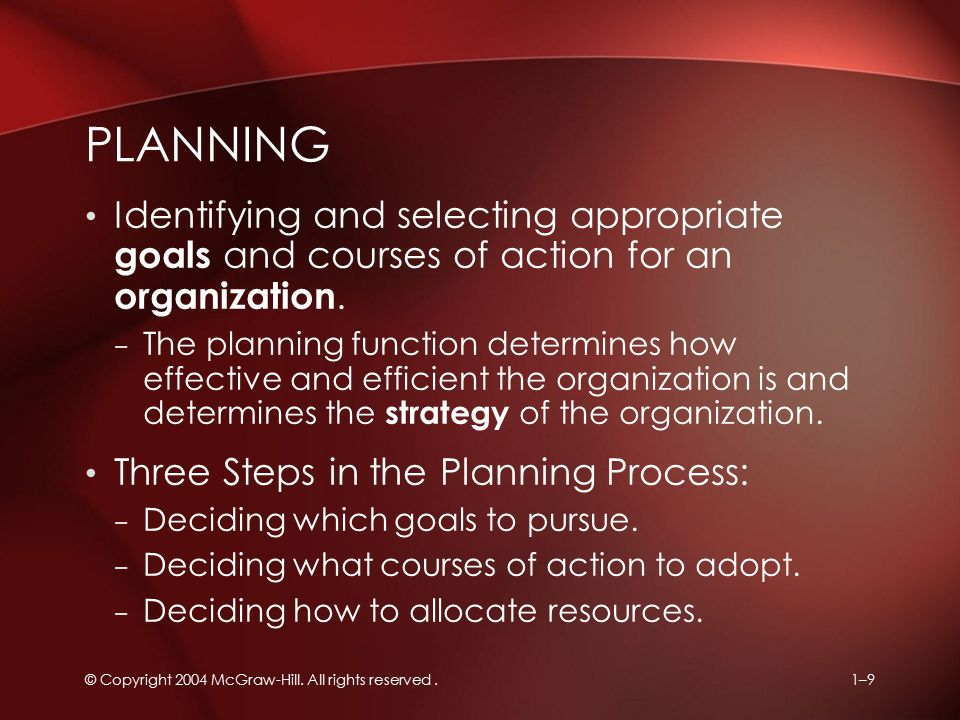 Planning Identifying and selecting appropriate goals and courses of action for an organization.