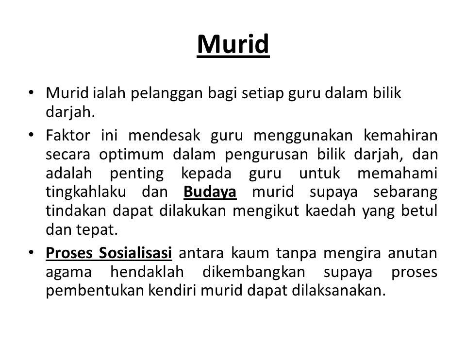 Murid Murid ialah pelanggan bagi setiap guru dalam bilik darjah.