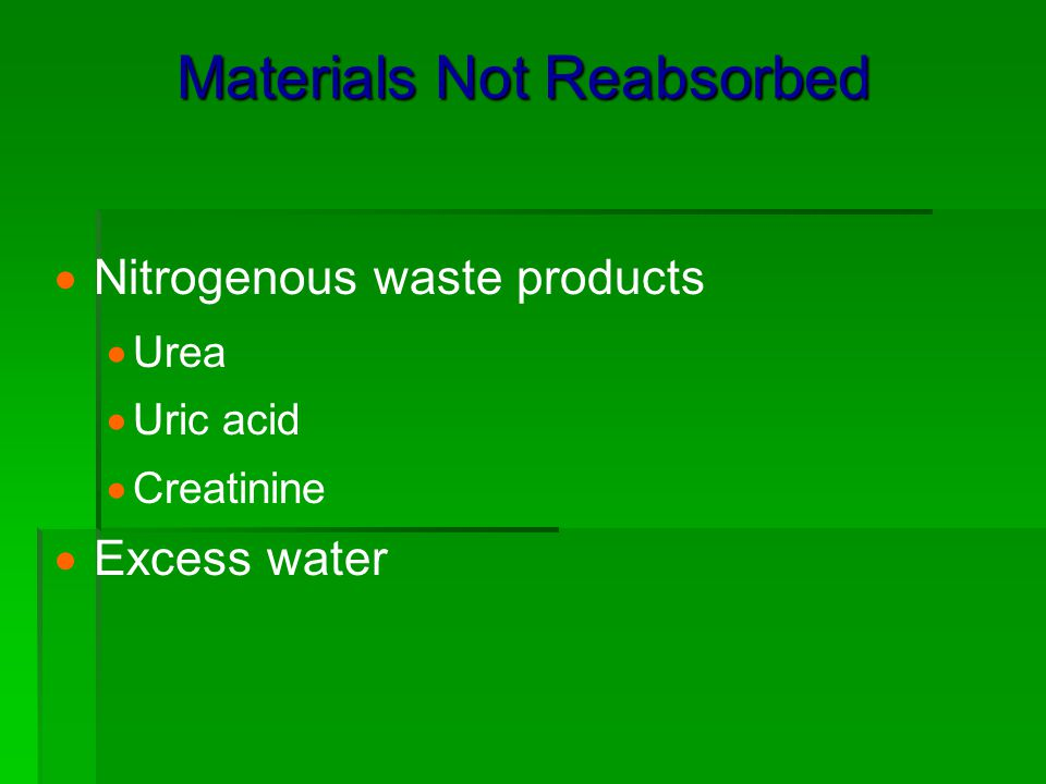 Materials Not Reabsorbed