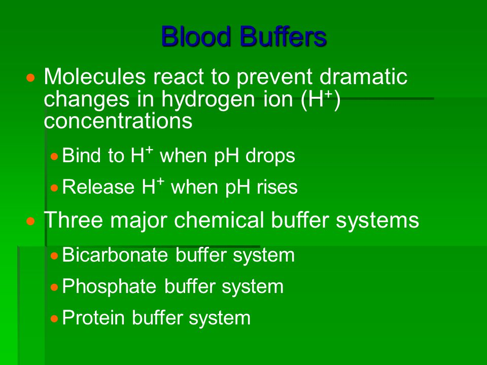 Blood Buffers Molecules react to prevent dramatic changes in hydrogen ion (H+) concentrations. Bind to H+ when pH drops.