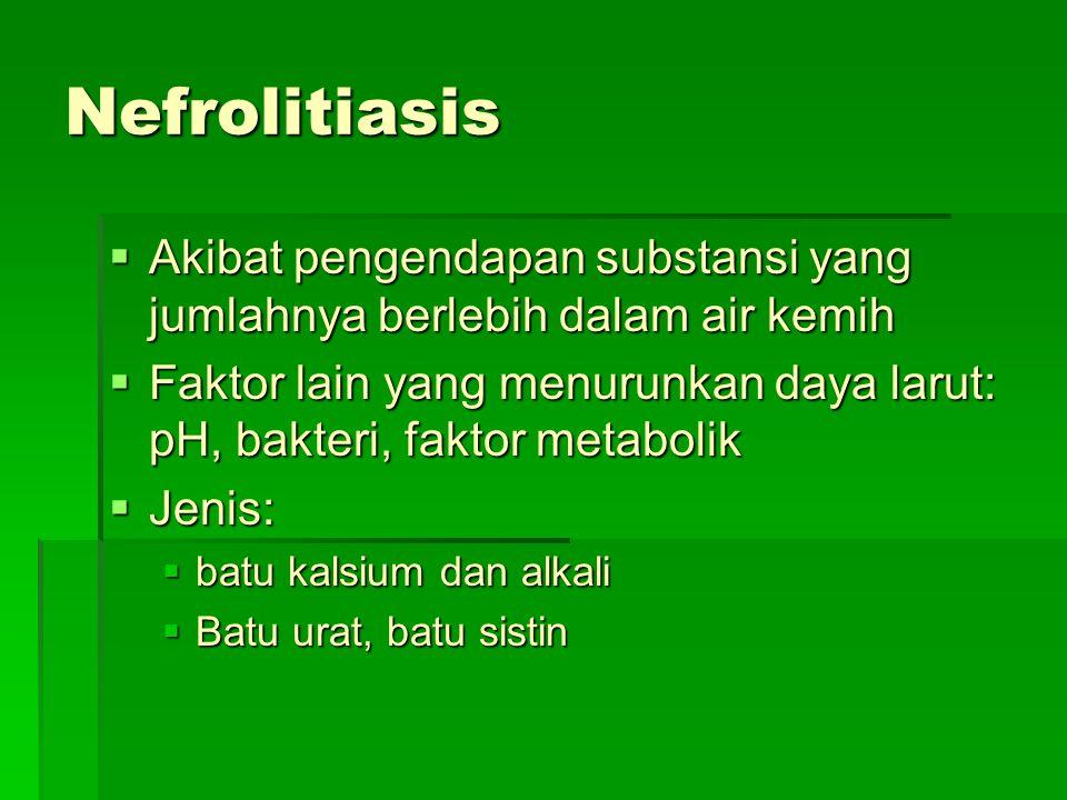 Nefrolitiasis Akibat pengendapan substansi yang jumlahnya berlebih dalam air kemih.