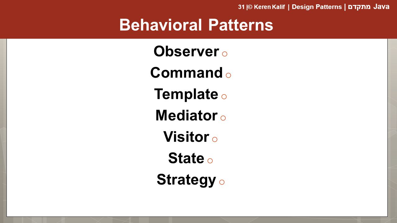 Behavioral Patterns Observer Command Template Mediator Visitor State