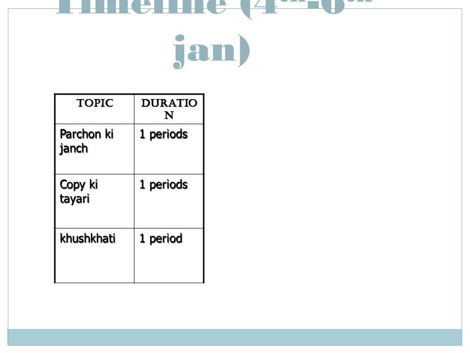 Timeline (4th-6th jan) Parchon ki janch 1 periods Copy ki tayari