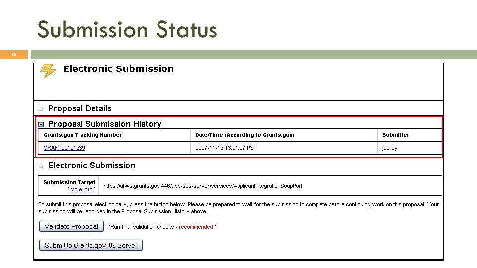 Submission Status