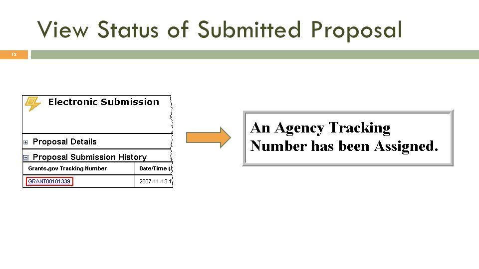 View Status of Submitted Proposal