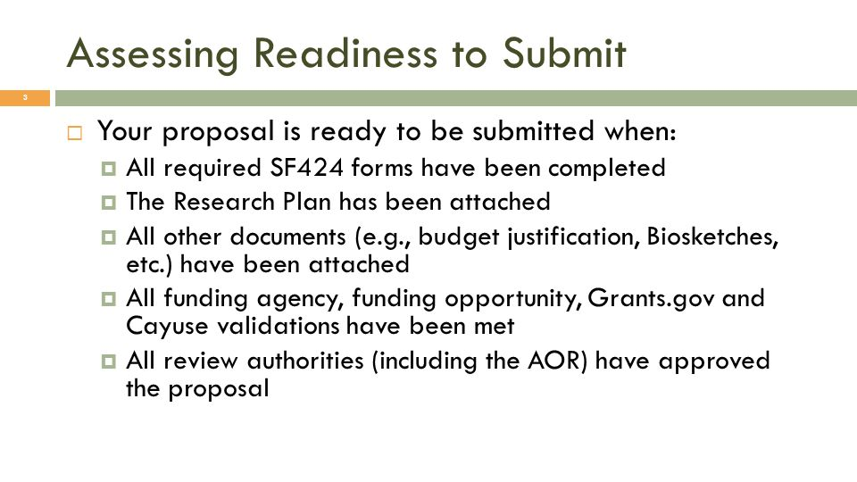 Assessing Readiness to Submit