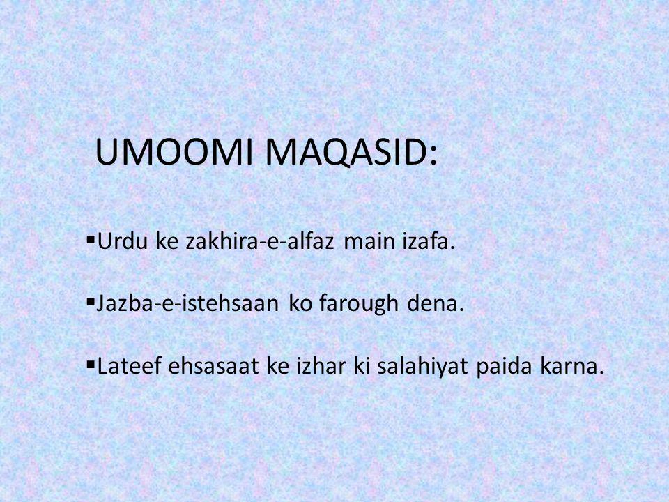 UMOOMI MAQASID: Urdu ke zakhira-e-alfaz main izafa.