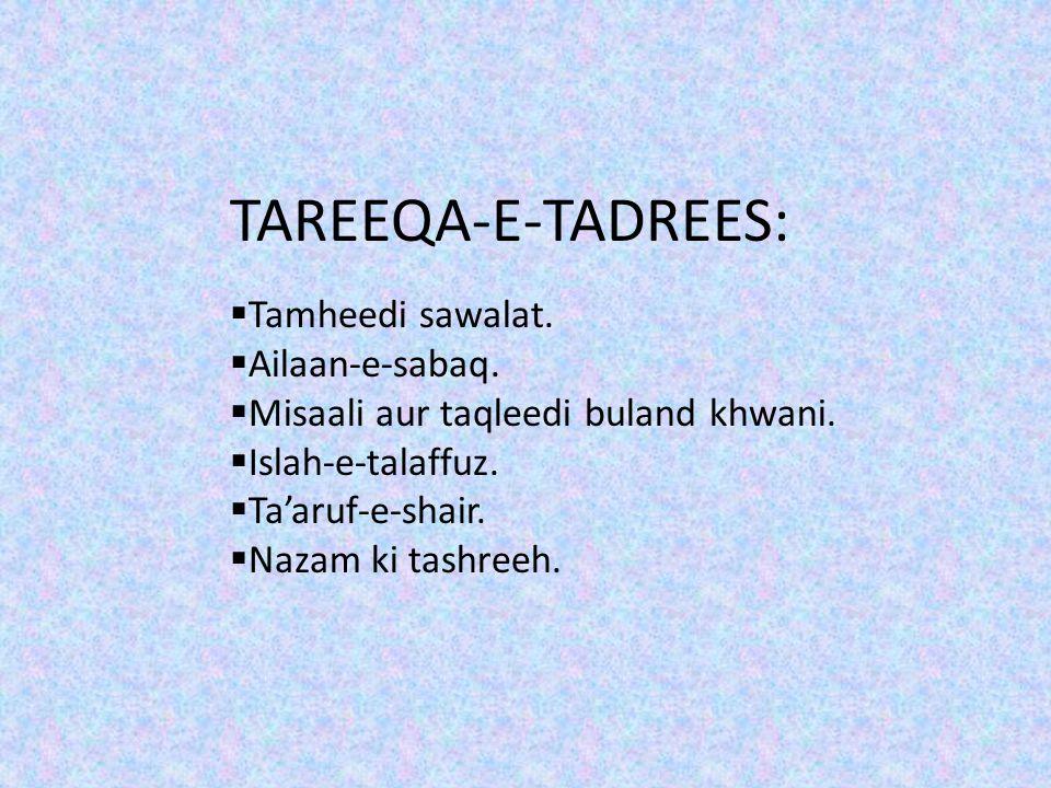 TAREEQA-E-TADREES: Tamheedi sawalat. Ailaan-e-sabaq.