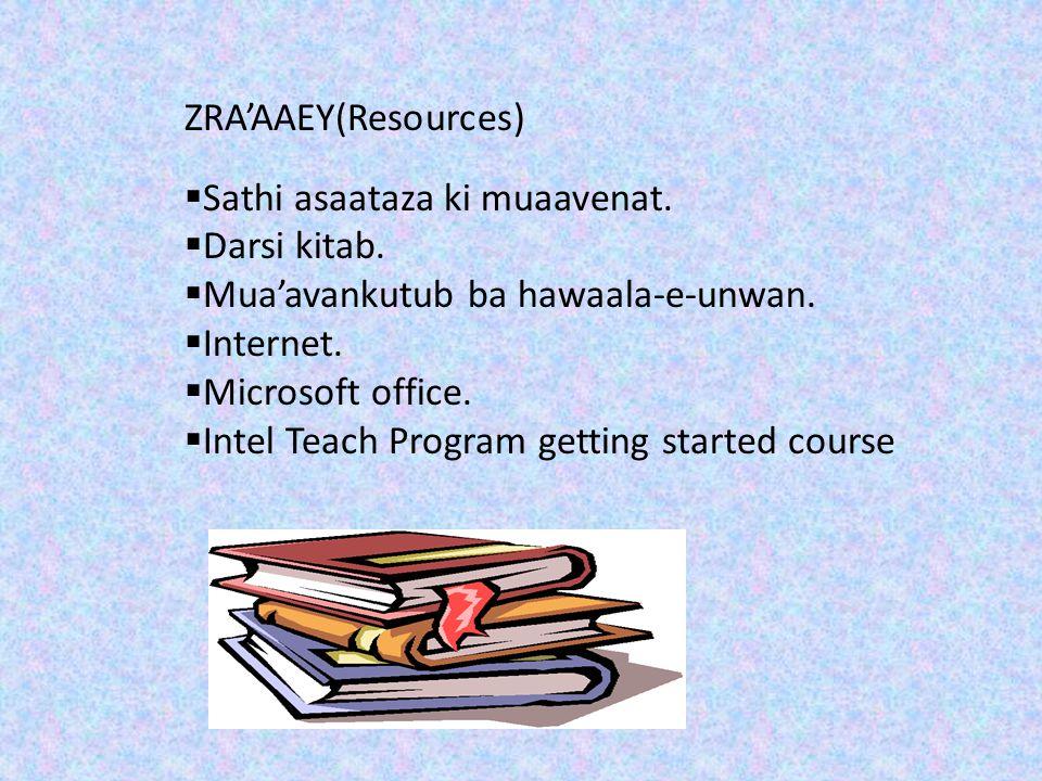 ZRA'AAEY(Resources) Sathi asaataza ki muaavenat. Darsi kitab. Mua'avankutub ba hawaala-e-unwan. Internet.