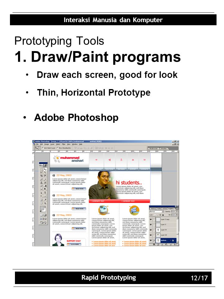 Prototyping Tools 1. Draw/Paint programs