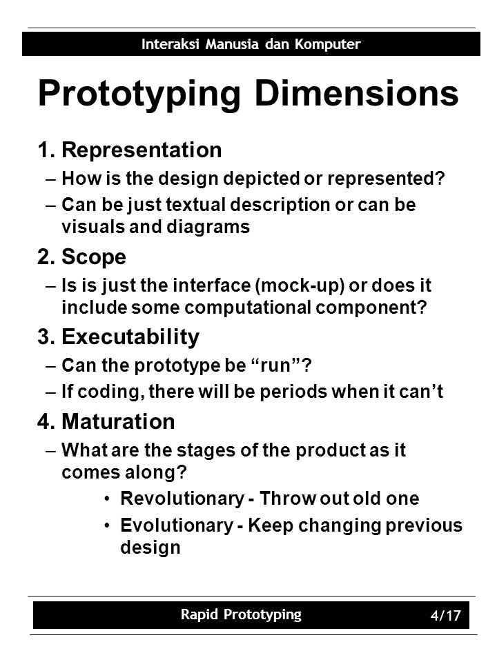 Prototyping Dimensions