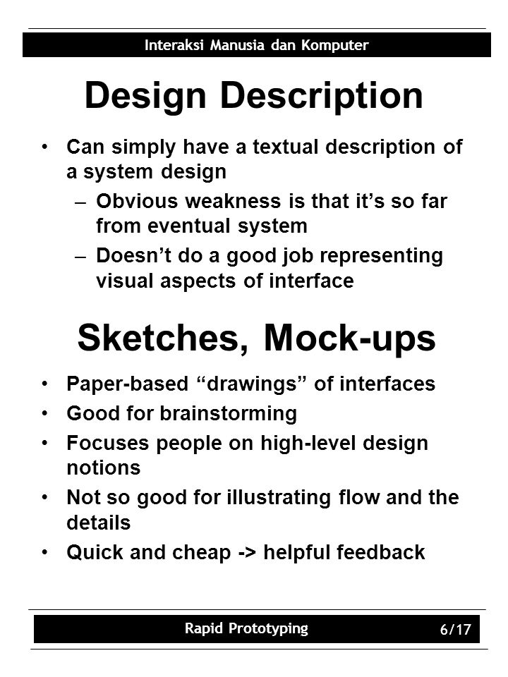 Design Description Sketches, Mock-ups