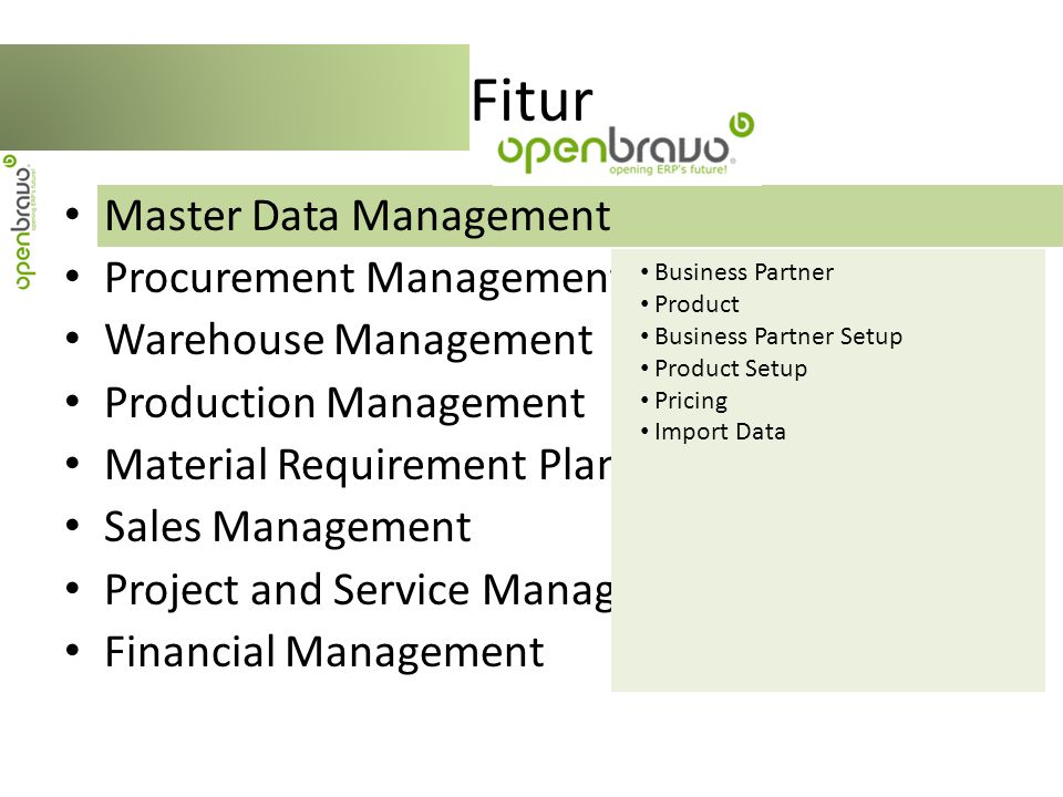 Fitur Master Data Management Procurement Management