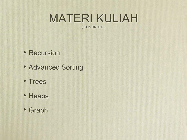 MATERI KULIAH ( CONTINUED )