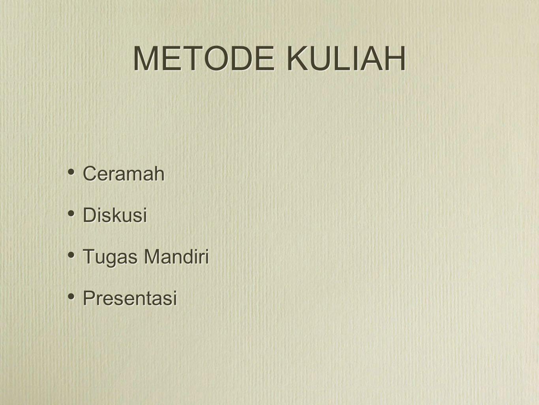 METODE KULIAH Ceramah Diskusi Tugas Mandiri Presentasi