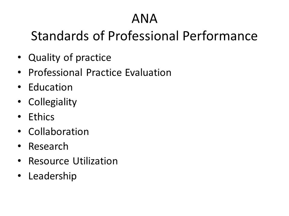 ANA Standards of Professional Performance