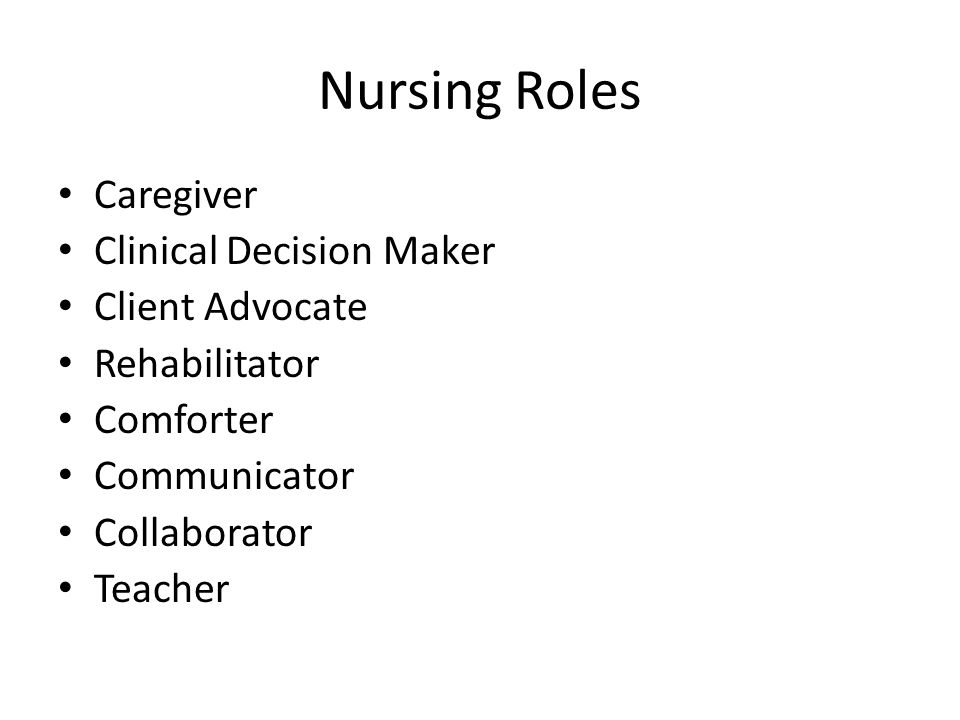 Nursing Roles Caregiver Clinical Decision Maker Client Advocate