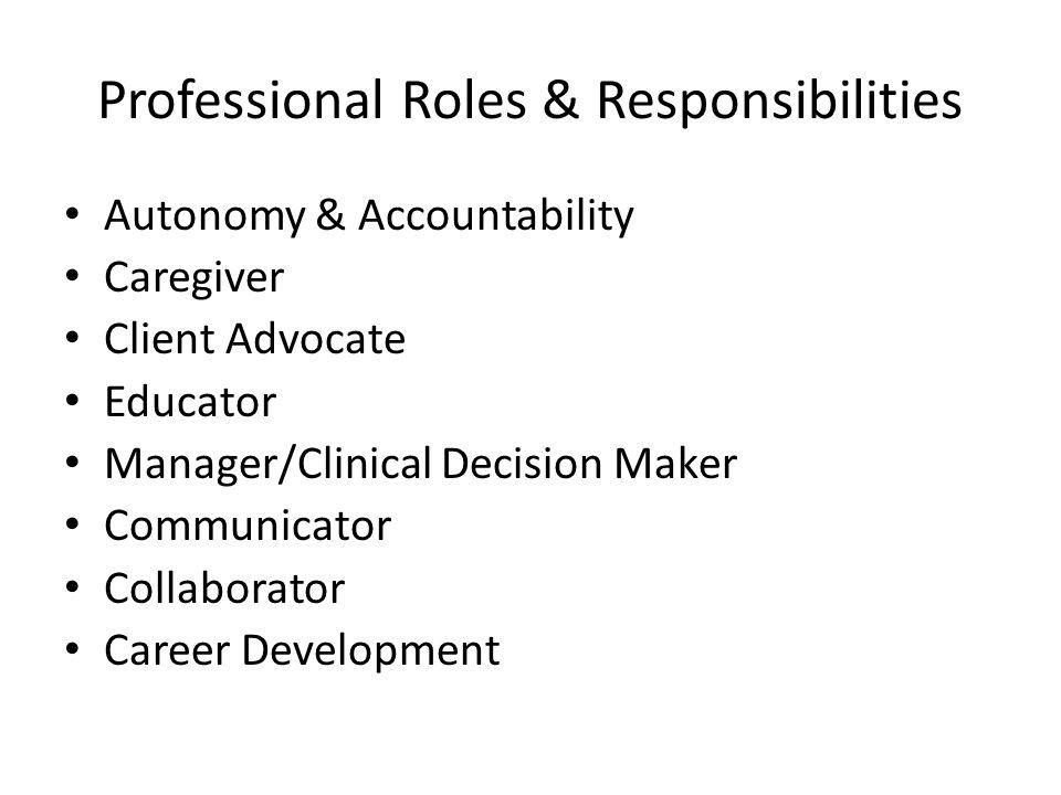 Professional Roles & Responsibilities