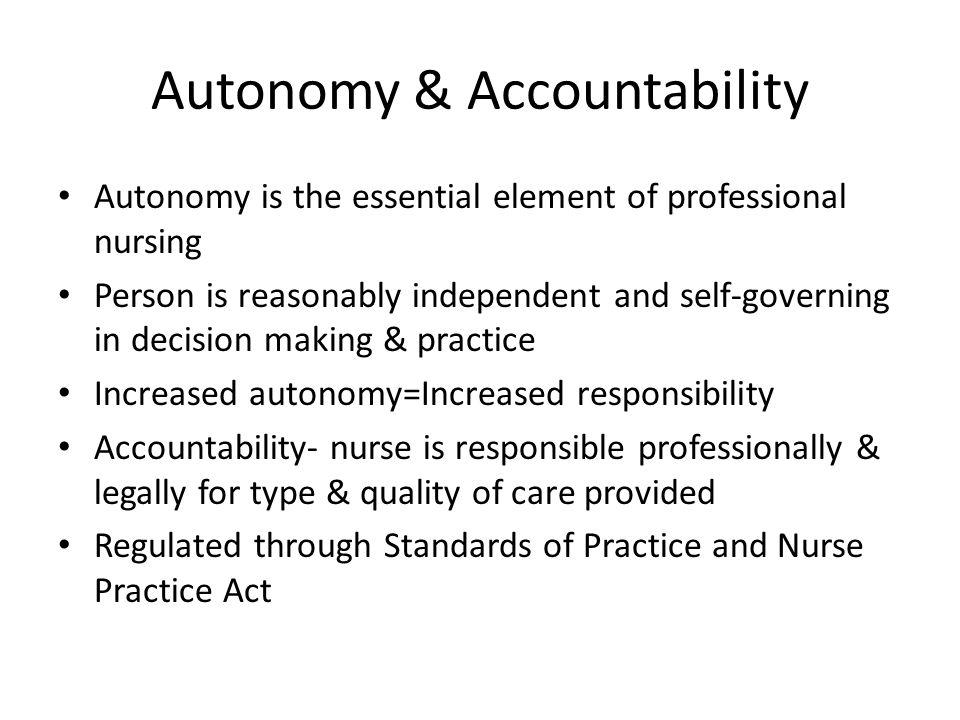 Autonomy & Accountability