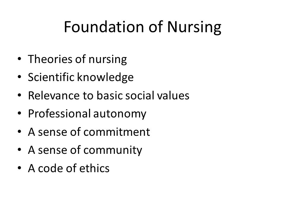 Foundation of Nursing Theories of nursing Scientific knowledge